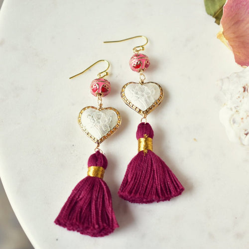 CAMILLA FRINGE EARRINGS /// BURGUNDY & WHITE