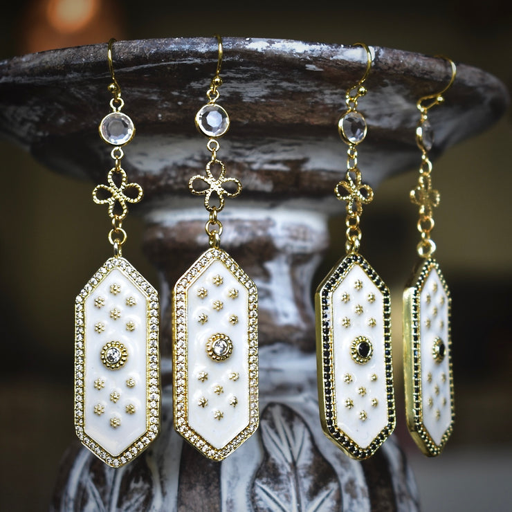 ELOISE DANGLE EARRINGS /// WHITE
