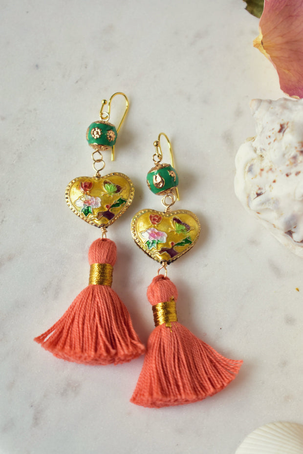 CAMILLA FRINGE EARRINGS /// CORAL, YELLOW & GREEN