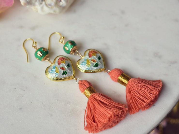 CAMILLA FRINGE EARRINGS /// CORAL, WHITE & GREEN