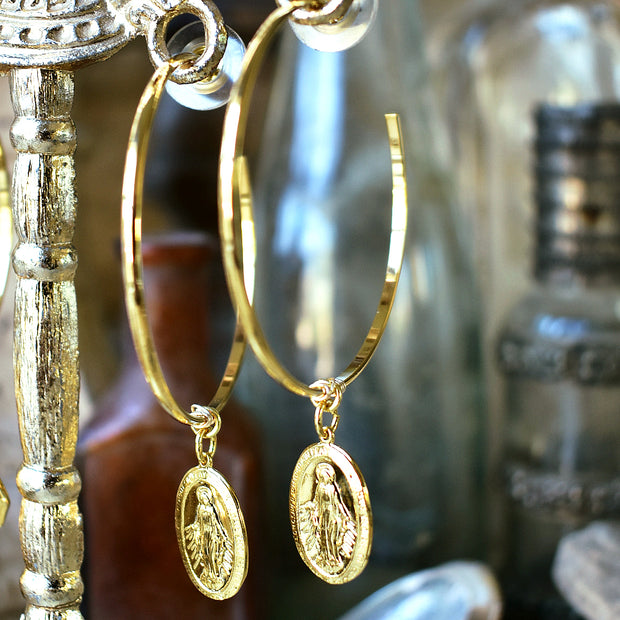 IMMACULATE CONCEPTION HOOP EARRINGS