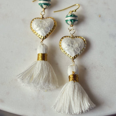CAMILLA FRINGE EARRINGS /// WHITE & GREEN