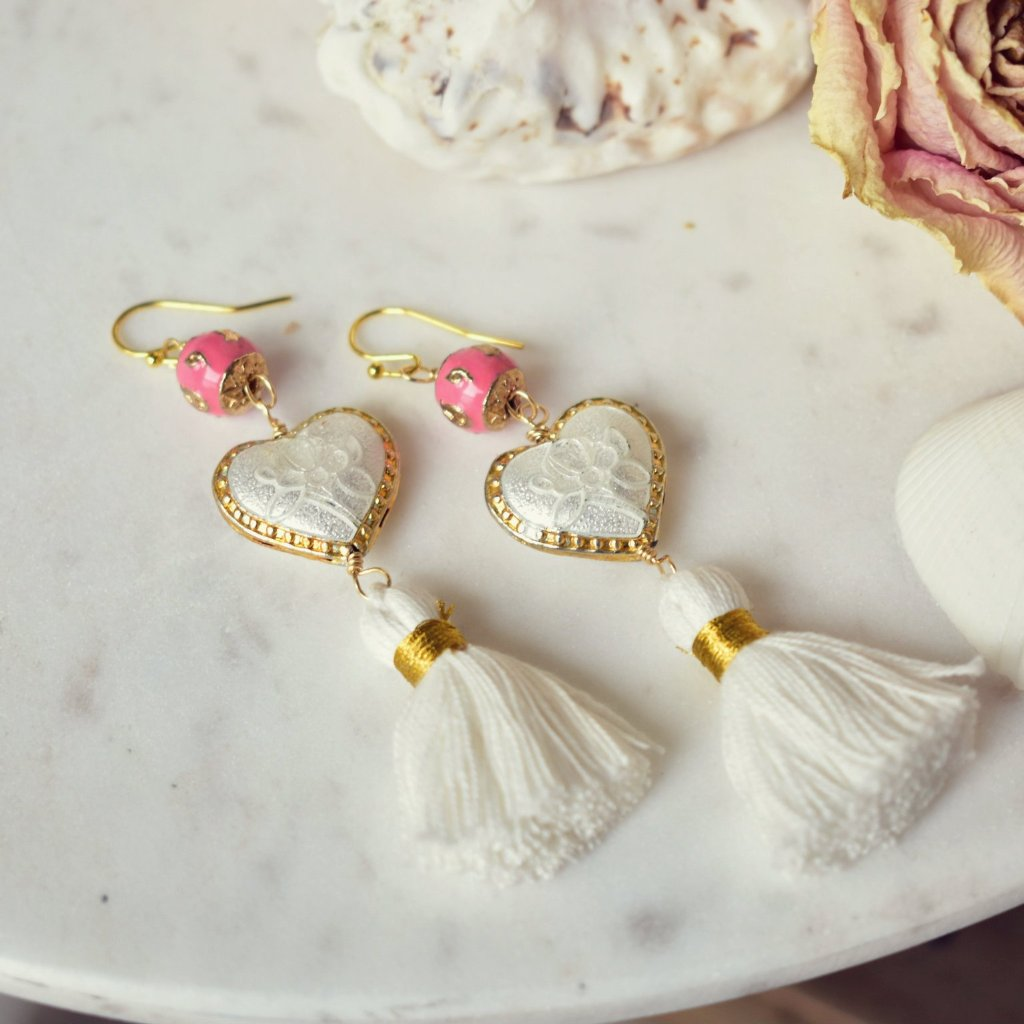 CAMILLA FRINGE EARRINGS /// WHITE & PINK
