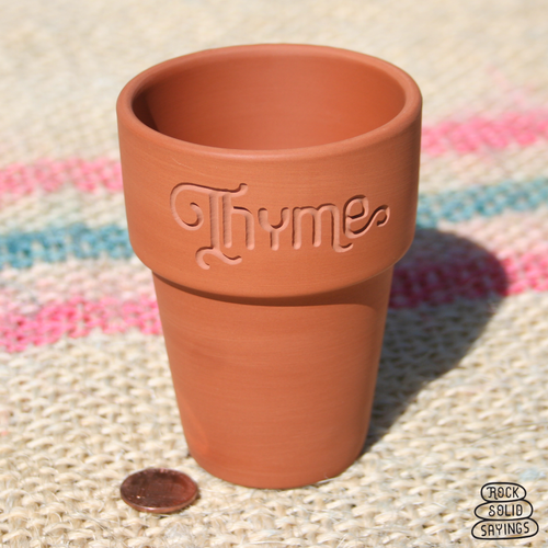 Thyme - Small Engraved Terracotta Herb Pot