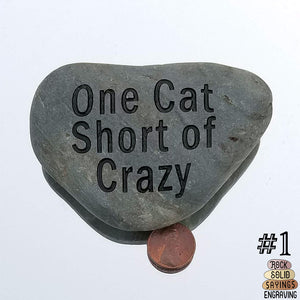 One Cat Short Of Crazy - Deeply Engraved Natural Stone