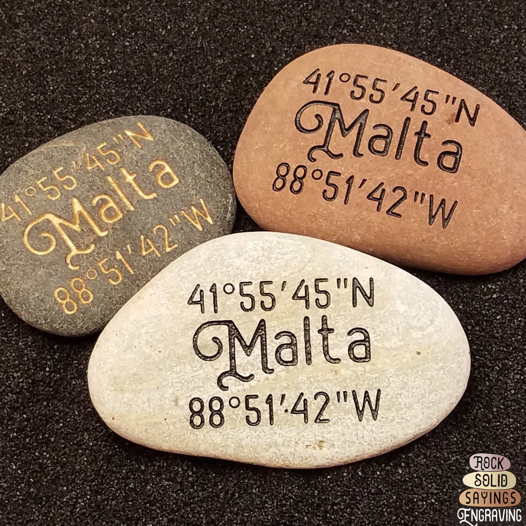 Custom Engraved Coordinate Stone