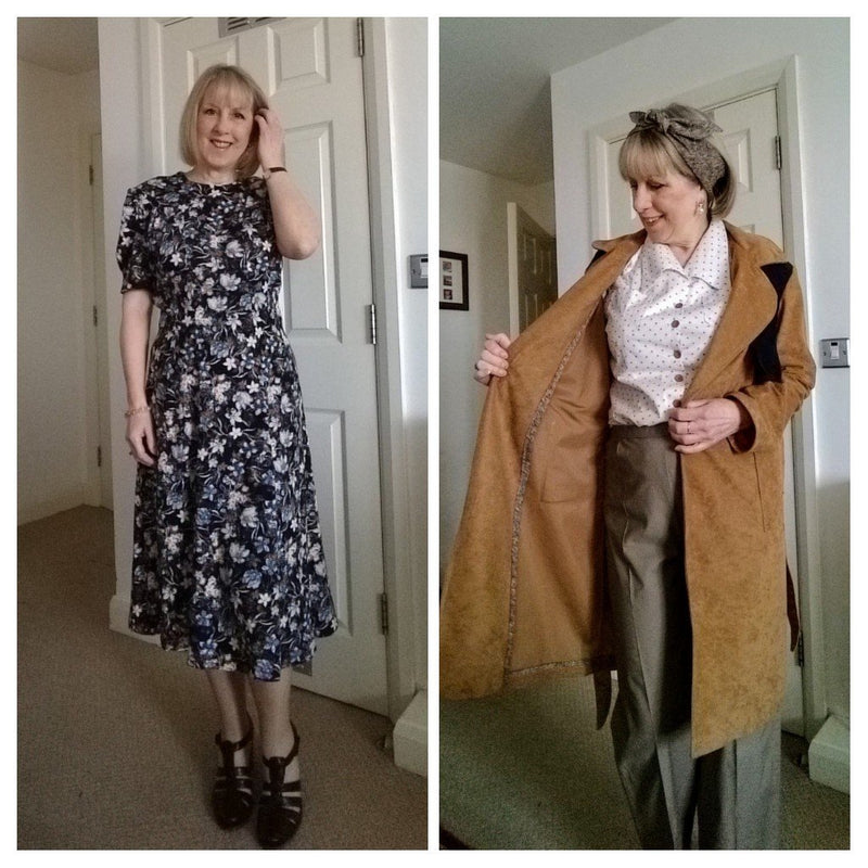 middle to late 1940s fashion: Dresses and Trench Coats