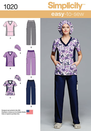 Simplicity Pattern 1020 Misses' and Plus Size Scrubs from Jaycotts Sewing Supplies