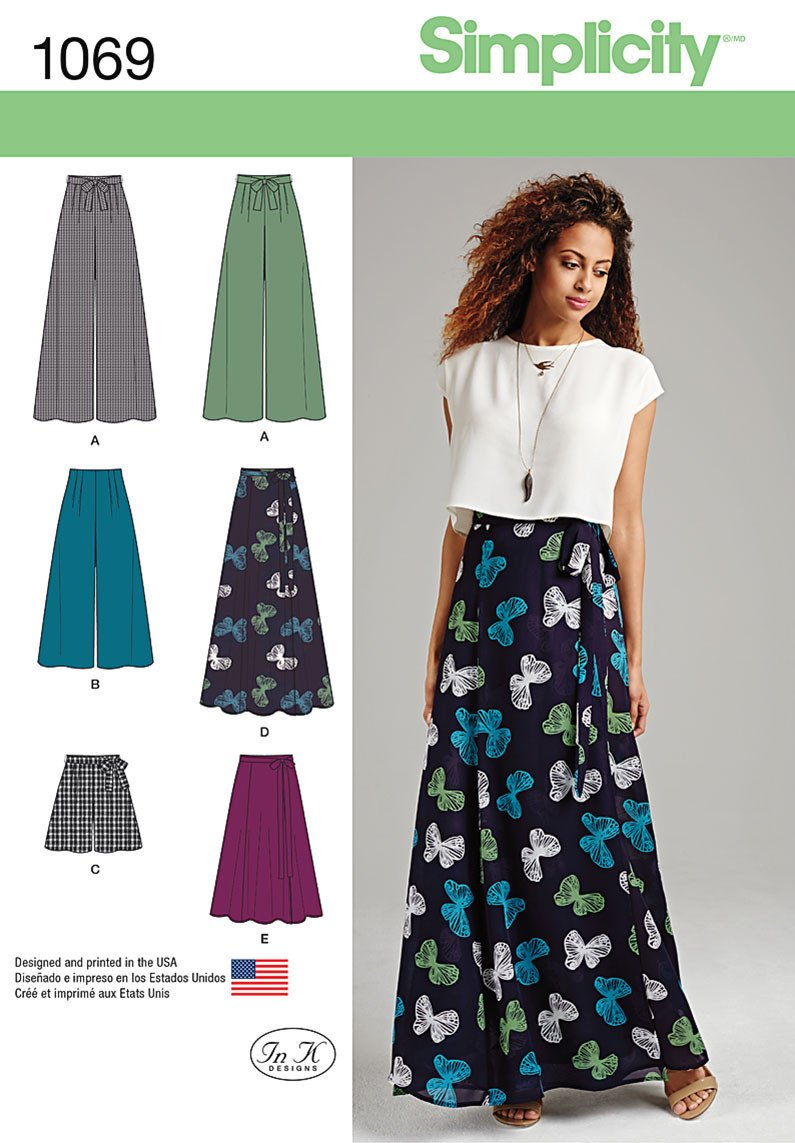 S1069 Wide Leg Pants or Shorts & Skirts in 2 Lengths