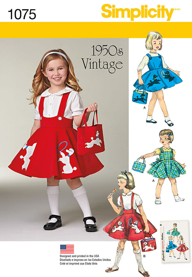 Simplicity Pattern 1075 Child's Jumper, Skirt and Bag from Jaycotts Sewing Supplies