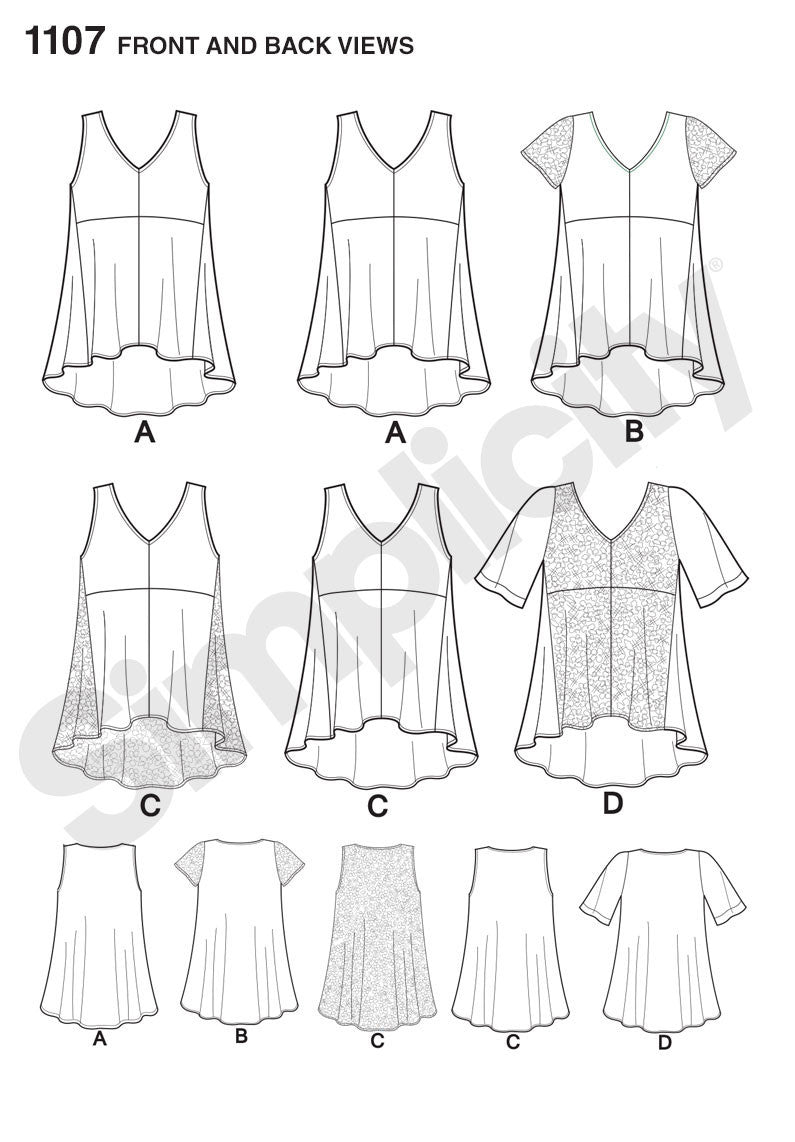 S1107 Misses' Tops with Fabric Variations