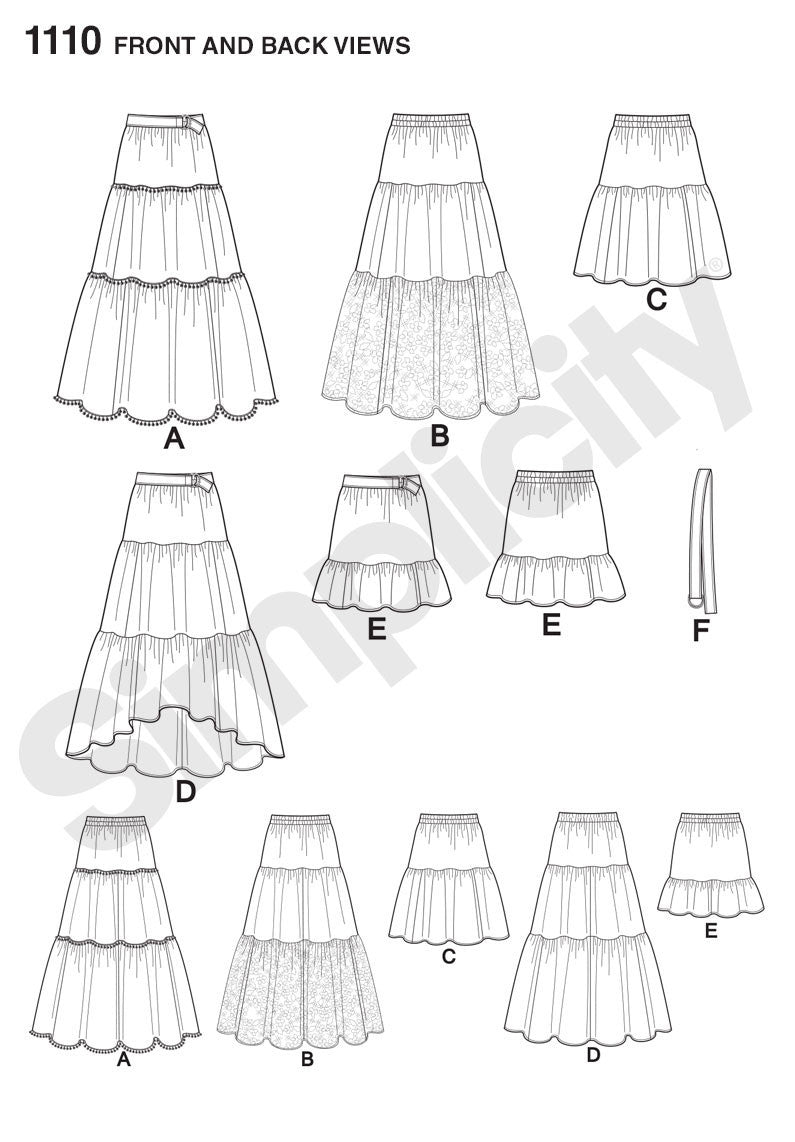 S1110 Misses' Tiered Skirt with Length Variations