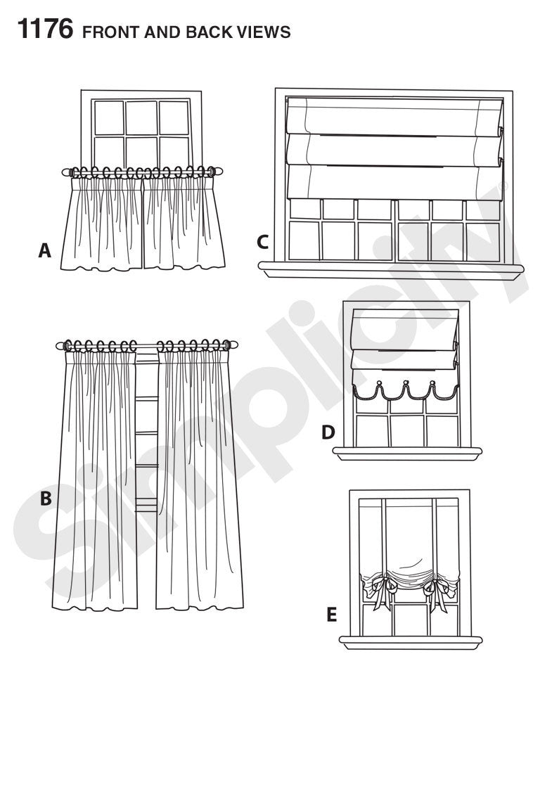 Simplicity Pattern 1176 Window Treatments from Jaycotts Sewing Supplies