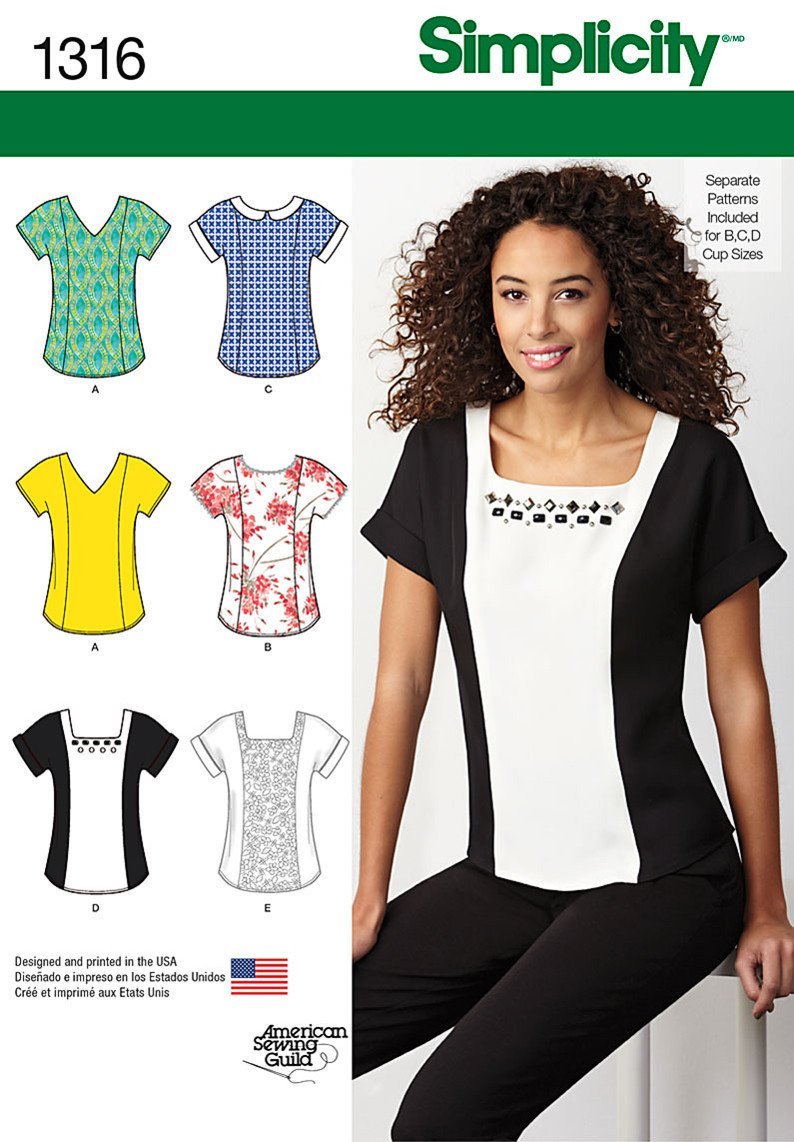 Simplicity S1316 Misses' Top with Neckline Variations