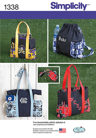 Simplicity Pattern 1338 Tote Bags in 3 Sizes, Backpack & Coin Purse
