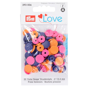 Prym Colour Snaps - orange / pink / purple Packs of 30