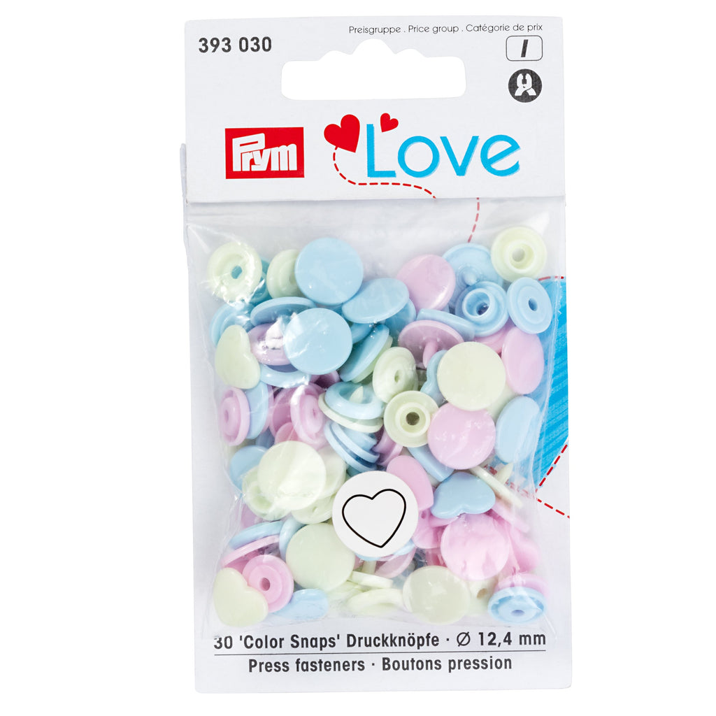 Prym Colour Snaps - Hearts from Jaycotts Sewing Supplies