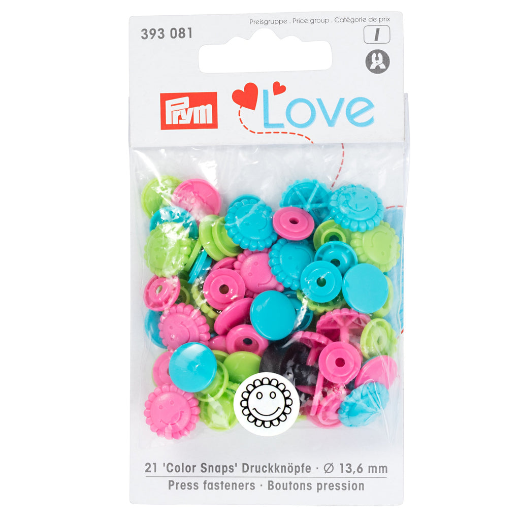 Prym Colour Snaps - Smiley Flowers Packs of 21 from Jaycotts Sewing Supplies