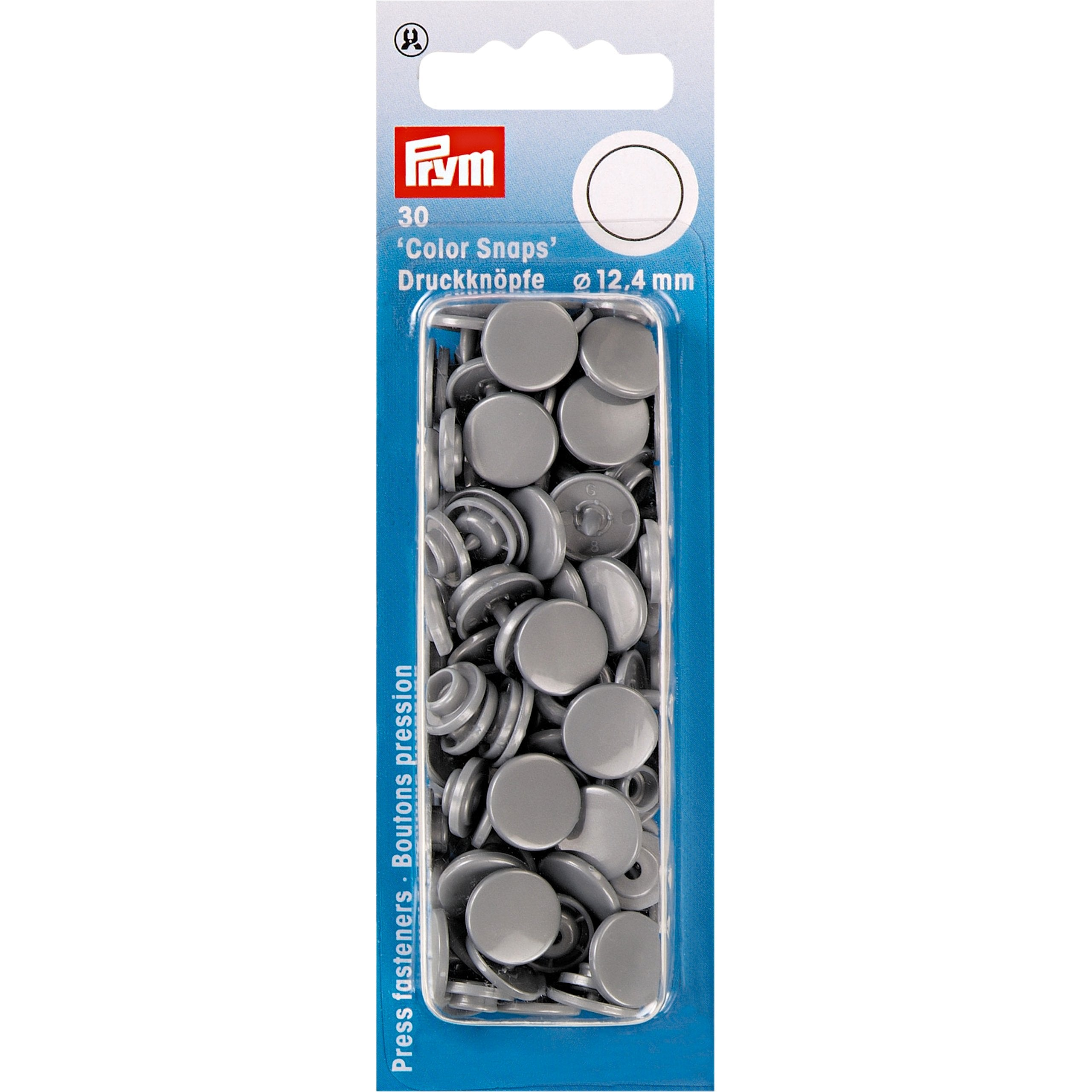 Prym Colour Snaps - Silver Grey - Packs of 30