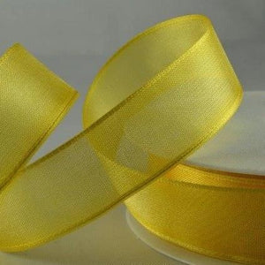Wired Edge Organza Ribbon | Yellow  | 25m roll from Jaycotts Sewing Supplies