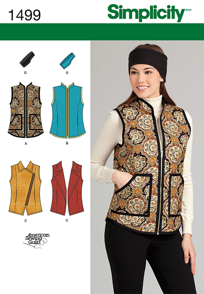 Simplicity Pattern 1499 Misses' Vest & Headband | American Sewing Guild from Jaycotts Sewing Supplies