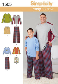 Simplicity Pattern 1505 Big and Tall Men's / Boys Sleepwear | Easy