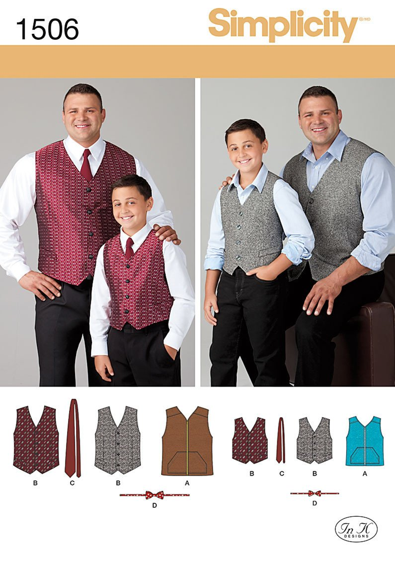 Simplicity Pattern 1506 Boy's and big and tall men's waistcoat pattern from Jaycotts Sewing Supplies
