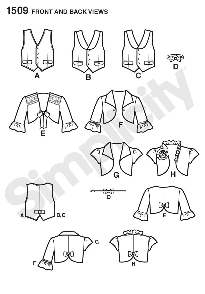 Simplicity Pattern 1509 Boy's bow tie and vest