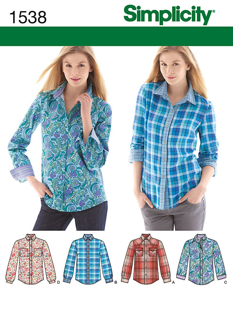 S1538 Misses' Button Front Shirt