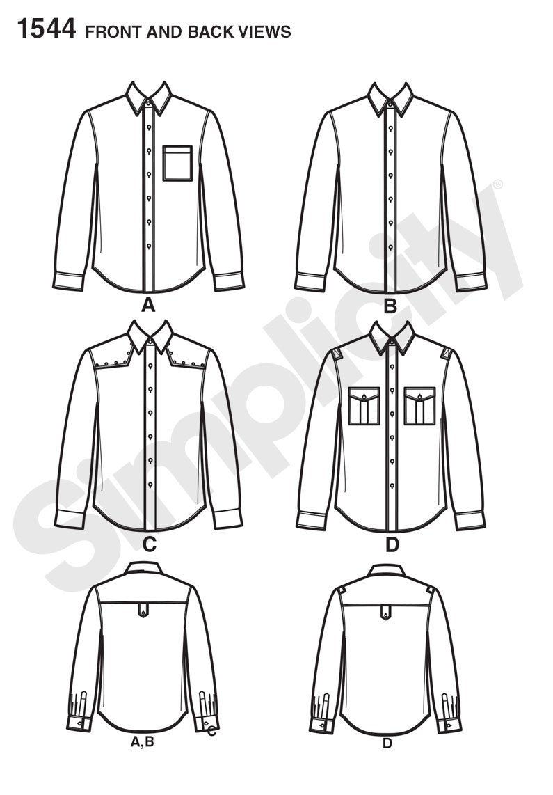 S1544 Men's Shirt with Fabric Variations
