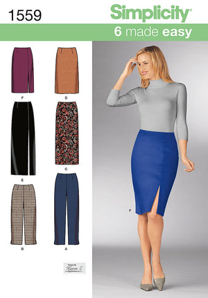 Simplicity Pattern 1559 Misses' slim pants and skirts