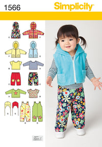 Simplicity Pattern 1556  babies' overall, zip up jacket from Jaycotts Sewing Supplies