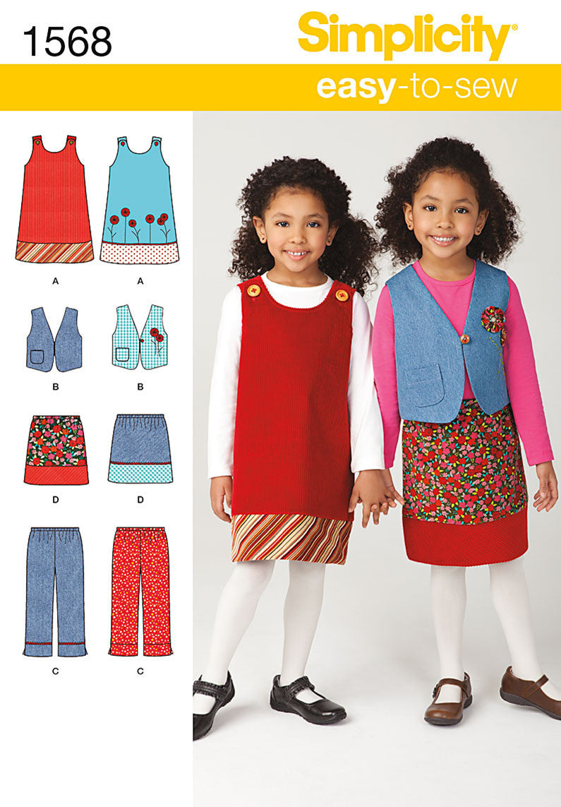 Simplicity Pattern 1568 Child's easy-to-sew dress from Jaycotts Sewing Supplies