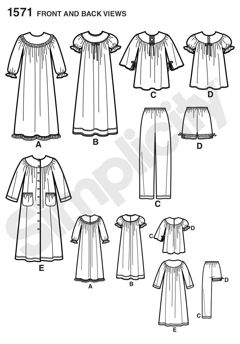 Simplicity Pattern 1571 Child's and girl's nightgown,