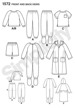 Simplicity Pattern 1572 Toddlers' and child's sleep shirt