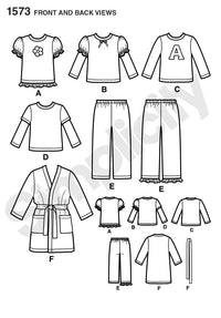 Simplicity Pattern 1573 Toddlers' and Child's robe, pants from Jaycotts Sewing Supplies