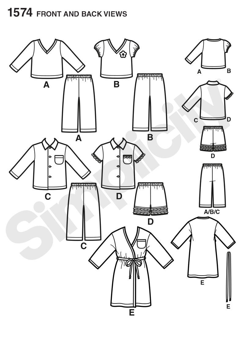 Simplicity Pattern 1574 Toddlers' and child's robe, pants, and knit tops. from Jaycotts Sewing Supplies