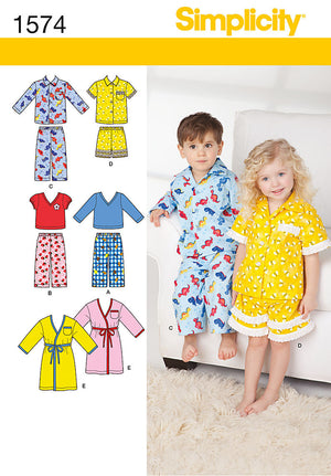 Simplicity Pattern 1574 Toddlers' and child's robe, pants, and knit tops.