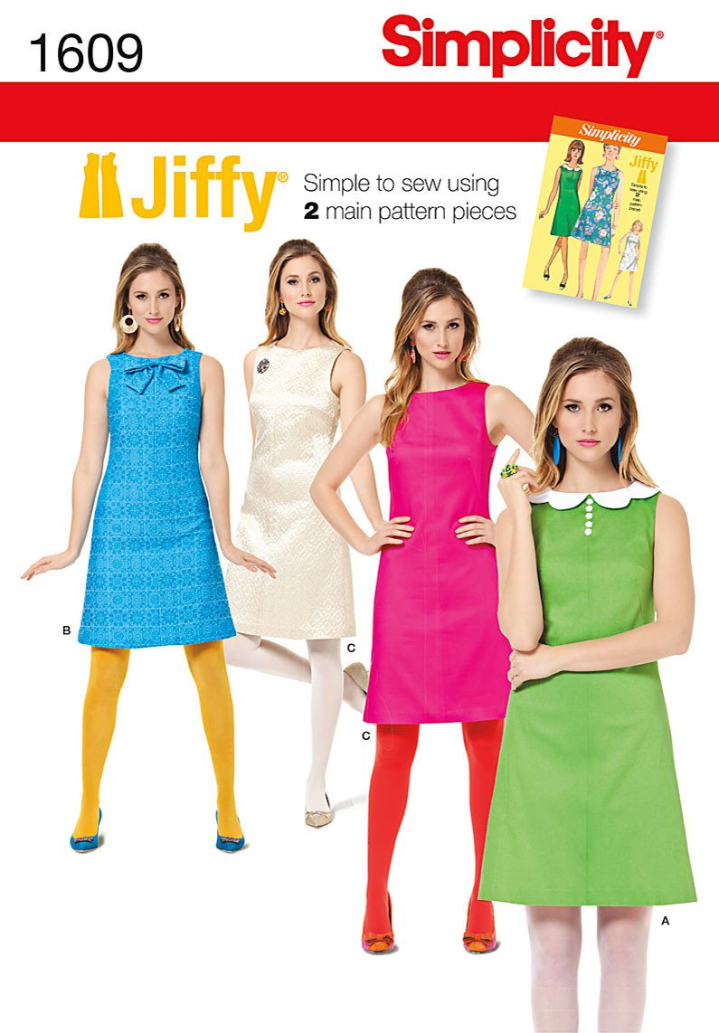 Simplicity pattern s1609 misses jiffy 174 dress vintage 1960s
