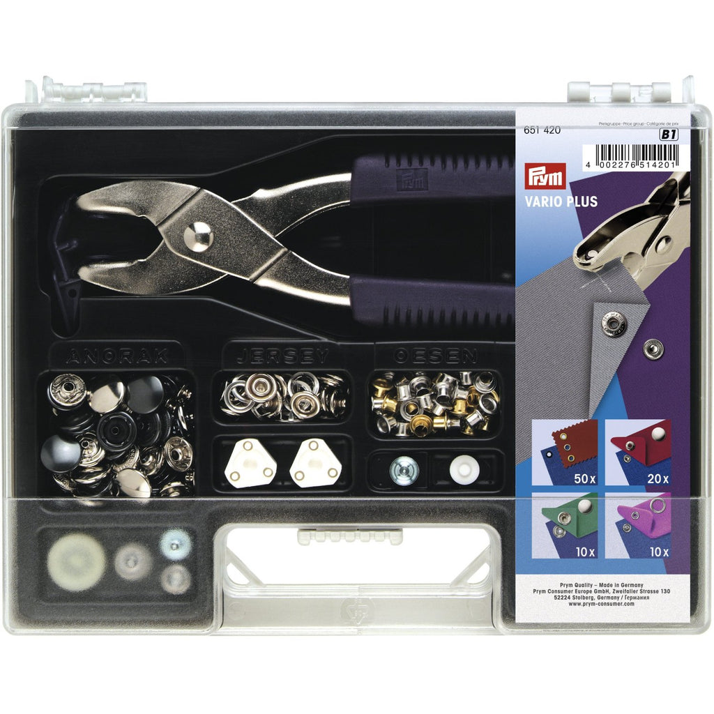 Prym Press fastener assortment and  vario pliers kit | 651420 from Jaycotts Sewing Supplies