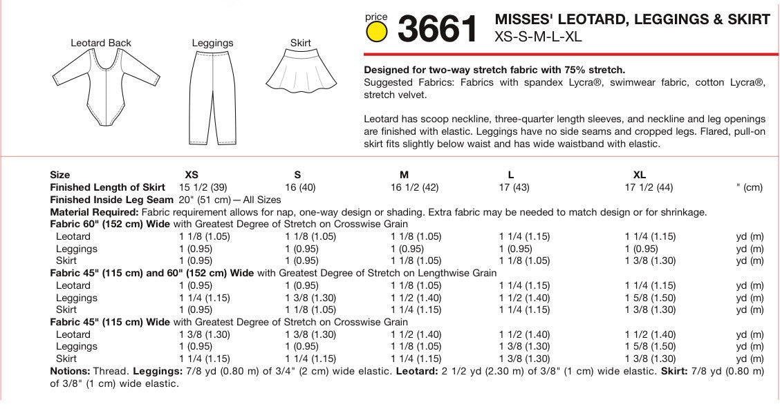 K3661 Misses' Leotard, Leggings & Skirt