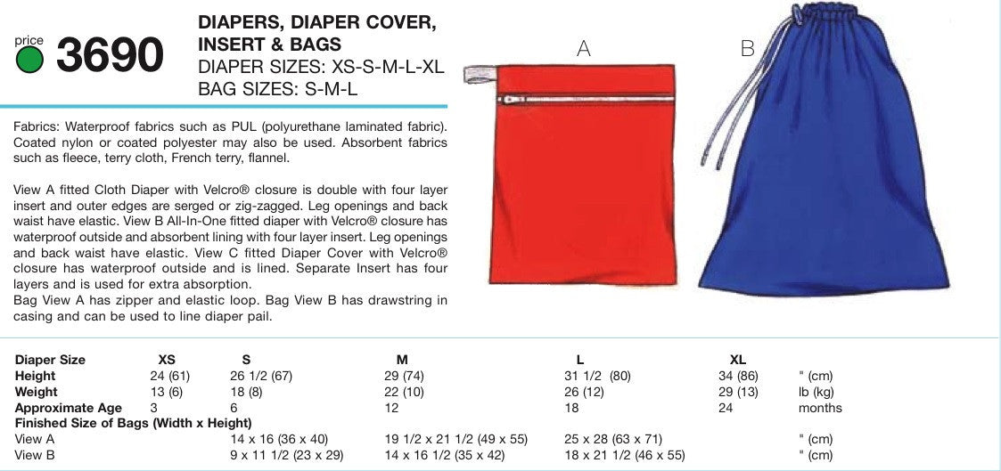 K3690 Nappy, Nappy Cover, Insert & Bags