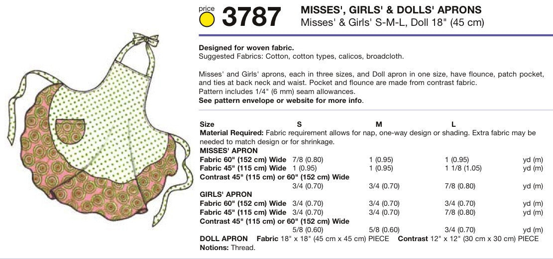 K3787 Misses', Girls' & Dolls' Aprons