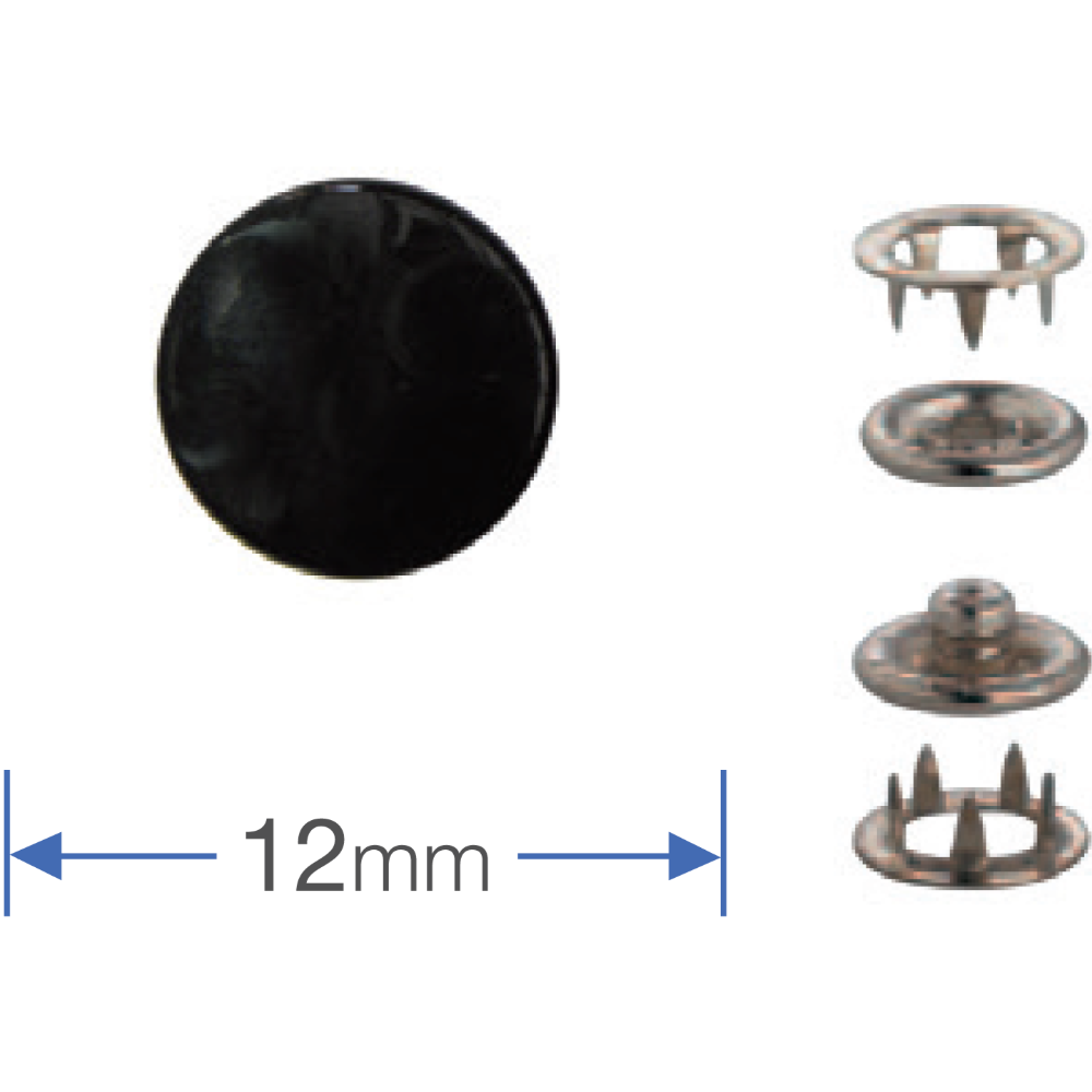Press Fasteners Black 12mm