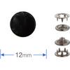 Press Studs (Non-Sew) - Black 12mm: Pack of 6