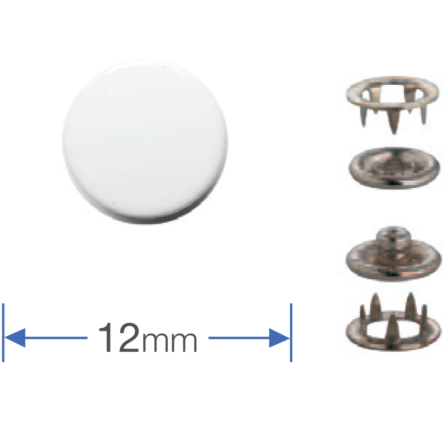 Press Studs (Non-Sew) - White 12mm: Pack of 6