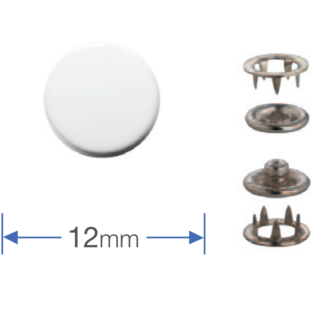 White Press Studs (Non-Sew) 12mm from Jaycotts Sewing Supplies