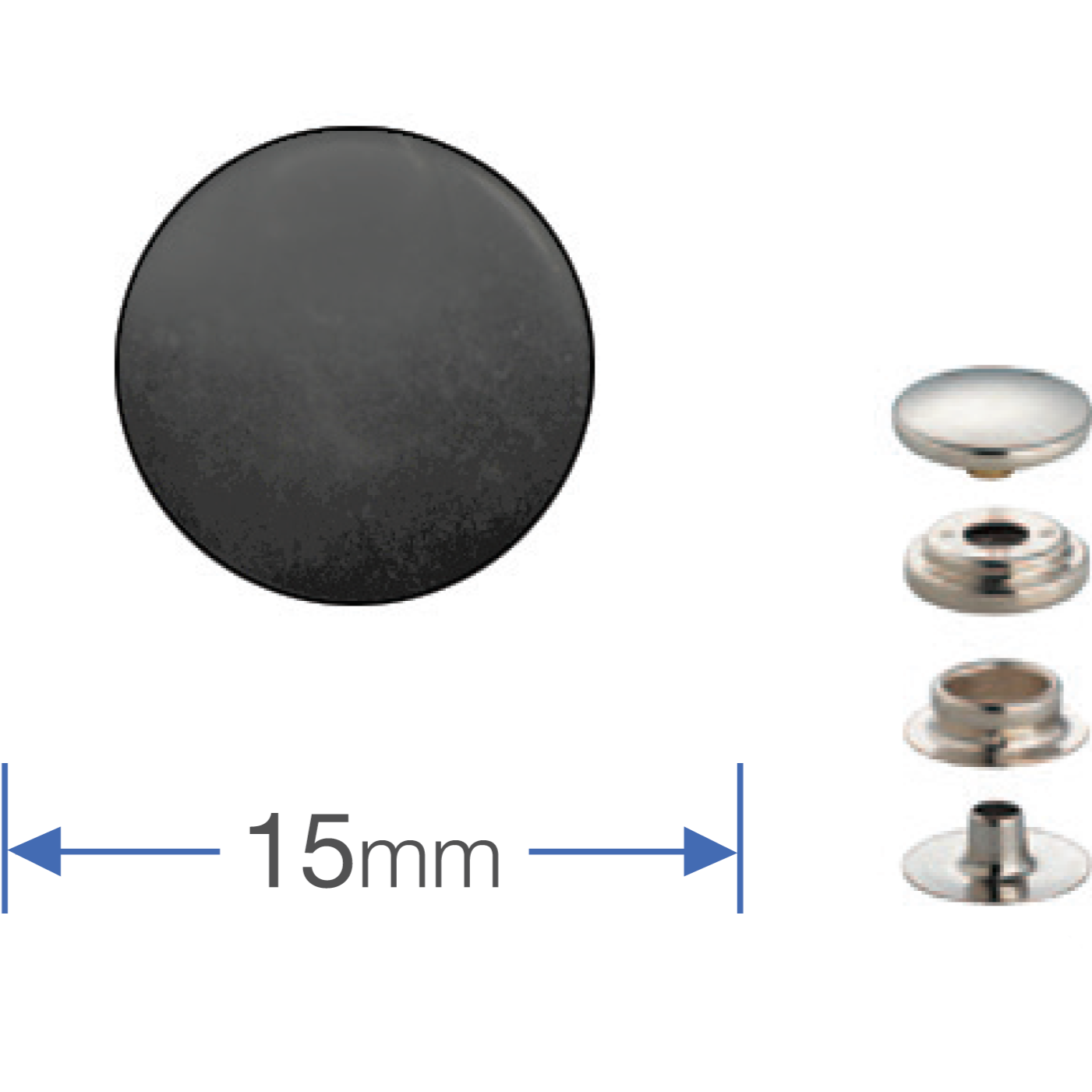 Press Studs (Non-Sew) - Gun Black 15mm Heavyweight: PACK OF 100