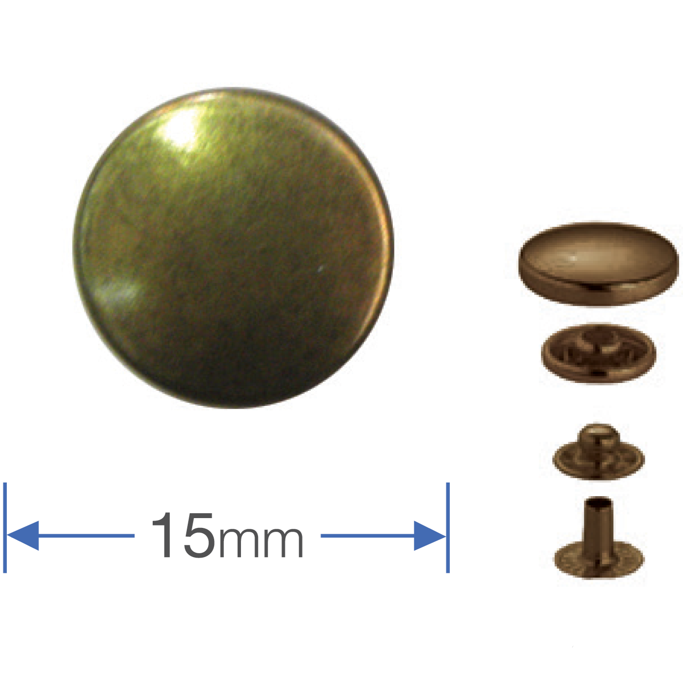Press Studs (Non-Sew) - Antique Brass 15mm
