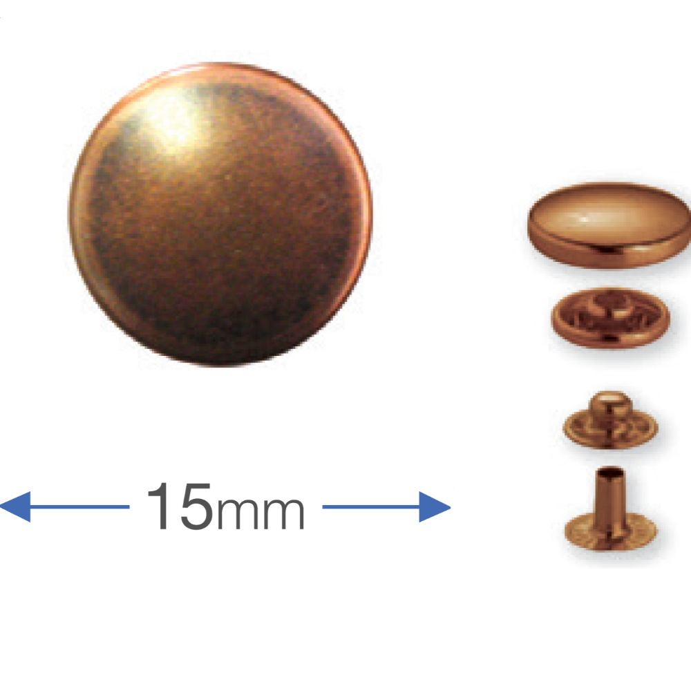 Press Studs (Non-Sew) - Antique Copper 15mm: PACK OF 10